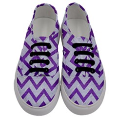 Chevron9 White Marble & Purple Brushed Metal (r) Men s Classic Low Top Sneakers