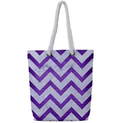 Chevron9 White Marble & Purple Brushed Metal (r) Full Print Rope Handle Tote (small)