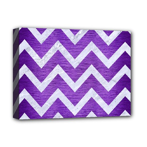 Chevron9 White Marble & Purple Brushed Metal Deluxe Canvas 16  X 12