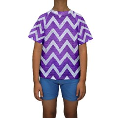 Chevron9 White Marble & Purple Brushed Metal Kids  Short Sleeve Swimwear