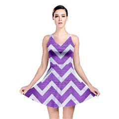 Chevron9 White Marble & Purple Brushed Metal Reversible Skater Dress
