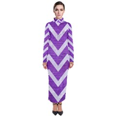 Chevron9 White Marble & Purple Brushed Metal Turtleneck Maxi Dress