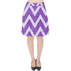 Chevron9 White Marble & Purple Brushed Metal Velvet High Waist Skirt