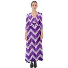 Chevron9 White Marble & Purple Brushed Metal Button Up Boho Maxi Dress
