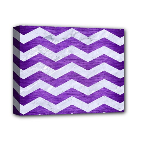Chevron3 White Marble & Purple Brushed Metal Deluxe Canvas 14  X 11  by trendistuff