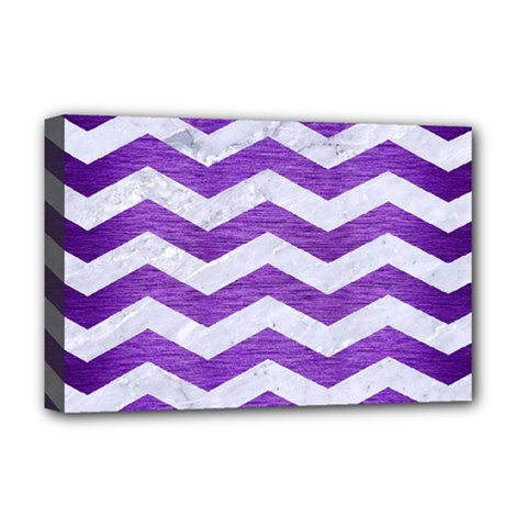 Chevron3 White Marble & Purple Brushed Metal Deluxe Canvas 18  X 12