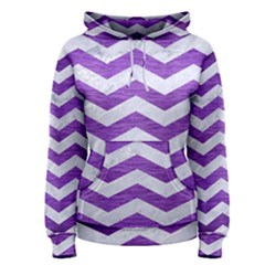Chevron3 White Marble & Purple Brushed Metal Women s Pullover Hoodie