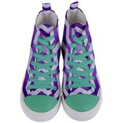 Chevron3 White Marble & Purple Brushed Metal Women s Mid Top Canvas Sneakers