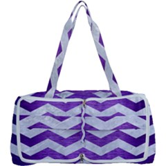 Chevron3 White Marble & Purple Brushed Metal Multi Function Bag