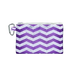 Chevron3 White Marble & Purple Brushed Metal Canvas Cosmetic Bag (small)