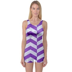 Chevron2 White Marble & Purple Brushed Metal One Piece Boyleg Swimsuit