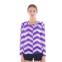 Chevron2 White Marble & Purple Brushed Metal Women s Long Sleeve Tee