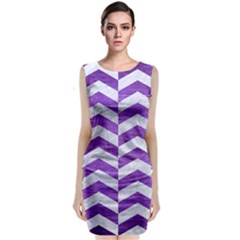 Chevron2 White Marble & Purple Brushed Metal Classic Sleeveless Midi Dress