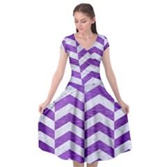 Chevron2 White Marble & Purple Brushed Metal Cap Sleeve Wrap Front Dress