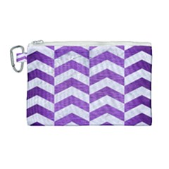 Chevron2 White Marble & Purple Brushed Metal Canvas Cosmetic Bag (large)