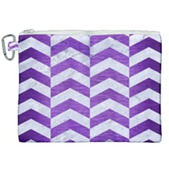 Chevron2 White Marble & Purple Brushed Metal Canvas Cosmetic Bag (xxl)