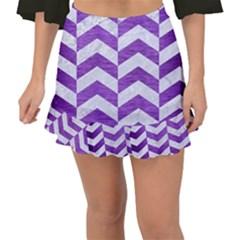 Chevron2 White Marble & Purple Brushed Metal Fishtail Mini Chiffon Skirt