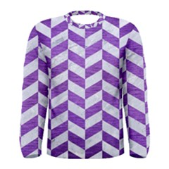 Chevron1 White Marble & Purple Brushed Metal Men s Long Sleeve Tee