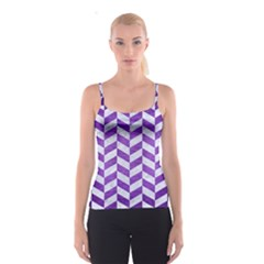 Chevron1 White Marble & Purple Brushed Metal Spaghetti Strap Top