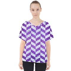 Chevron1 White Marble & Purple Brushed Metal V Neck Dolman Drape Top