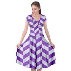 Chevron1 White Marble & Purple Brushed Metal Cap Sleeve Wrap Front Dress