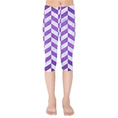 Chevron1 White Marble & Purple Brushed Metal Kids  Capri Leggings