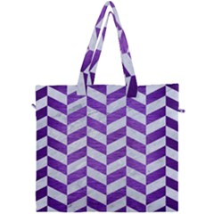 Chevron1 White Marble & Purple Brushed Metal Canvas Travel Bag by trendistuff