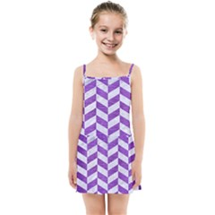 Chevron1 White Marble & Purple Brushed Metal Kids Summer Sun Dress