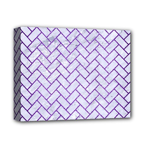 Brick2 White Marble & Purple Brushed Metal (r) Deluxe Canvas 14  X 11  by trendistuff