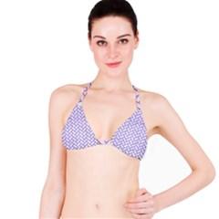 Brick2 White Marble & Purple Brushed Metal (r) Bikini Top