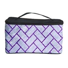 Brick2 White Marble & Purple Brushed Metal (r) Cosmetic Storage Case