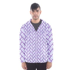 Brick2 White Marble & Purple Brushed Metal (r) Hooded Windbreaker (men)