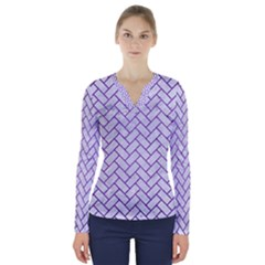 Brick2 White Marble & Purple Brushed Metal (r) V Neck Long Sleeve Top