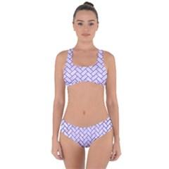 Brick2 White Marble & Purple Brushed Metal (r) Criss Cross Bikini Set