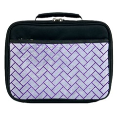 Brick2 White Marble & Purple Brushed Metal (r) Lunch Bag