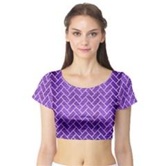 Brick2 White Marble & Purple Brushed Metal Short Sleeve Crop Top