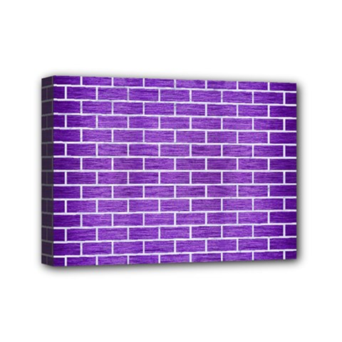 Brick1 White Marble & Purple Brushed Metal Mini Canvas 7  X 5  by trendistuff