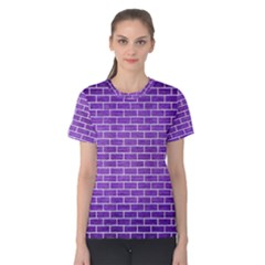 Brick1 White Marble & Purple Brushed Metal Women s Cotton Tee