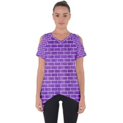 Brick1 White Marble & Purple Brushed Metal Cut Out Side Drop Tee