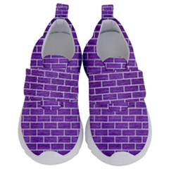 Brick1 White Marble & Purple Brushed Metal Velcro Strap Shoes