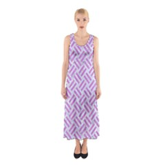 Woven2 White Marble & Purple Colored Pencil (r) Sleeveless Maxi Dress