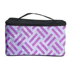 Woven2 White Marble & Purple Colored Pencil (r) Cosmetic Storage Case