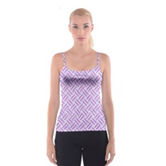 Woven2 White Marble & Purple Colored Pencil (r) Spaghetti Strap Top