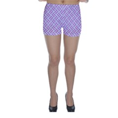 Woven2 White Marble & Purple Colored Pencil (r) Skinny Shorts