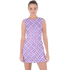 Woven2 White Marble & Purple Colored Pencil (r) Lace Up Front Bodycon Dress