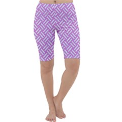 Woven2 White Marble & Purple Colored Pencil Cropped Leggings