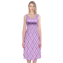Woven2 White Marble & Purple Colored Pencil Midi Sleeveless Dress