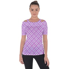 Woven2 White Marble & Purple Colored Pencil Short Sleeve Top