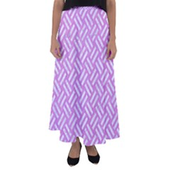 Woven2 White Marble & Purple Colored Pencil Flared Maxi Skirt