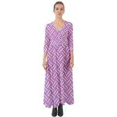 Woven2 White Marble & Purple Colored Pencil Button Up Boho Maxi Dress